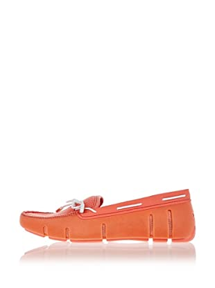 Swims Lace Loafer (coral velvet/white)