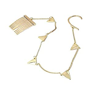 Habors Gold Ear Cuff with Hair Chain for Women