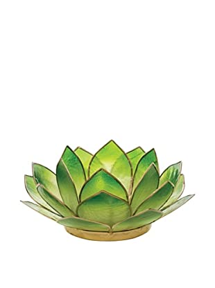 Torre & Tagus Lotus Capiz Shell Tealight Holder, Emerald Green