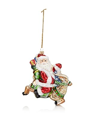 Kurt Adler Polonaise Santa on Reindeer Ornament