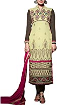 Admyrin Beige and Brown Georgette Embroidered Salwar Kameez With Dupaatta