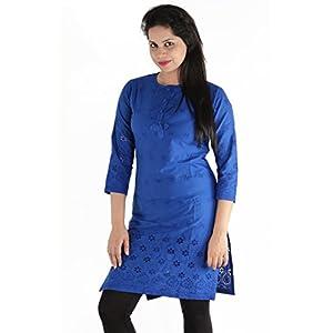 Urbane Woman Women's Cotton Embroided Chikan Kurti (uw.kur.9493_1_Blue_XX-Large)