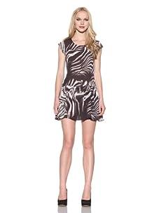 Intermix Women's Cap Sleeve Zebra Dress (Zebra)