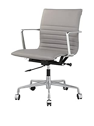 Meelano Office Chair In Italian Leather, Grey