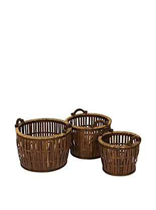 Skalny Set of 3 Round Bamboo Storage Baskets
