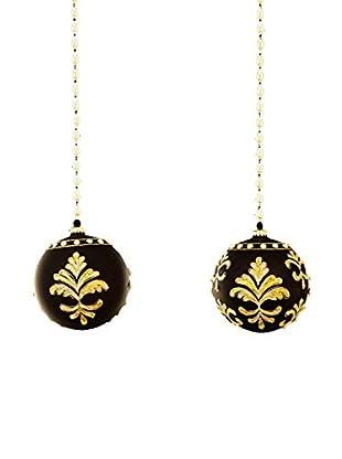 Sage & Co. Set of 2 Jeweled Ball Ornaments