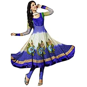 Blue and White Net Anarkali Suit