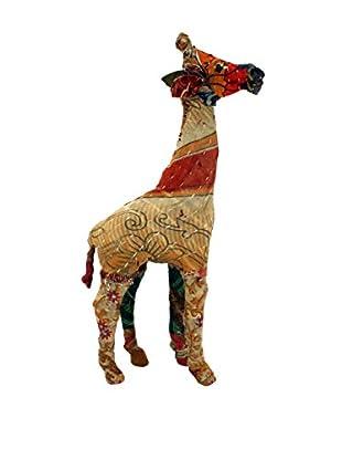 Vintage Sari Fabric Paper Mache Giraffe, Multi