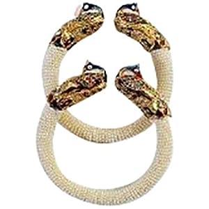 Trendy Designer Meenakari Stretchable Peacock Kadas Set With White Beads