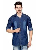 Fasnoya Men's Slim Fit Denim Shirt - L