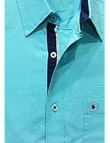 AA' Southbay Men's Aqua 100% Oxford Premium Cotton Long Sleeve Solid Casual Shirt