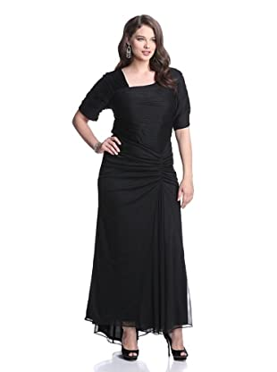 Marina Plus Women's Pleated Gown (Black)