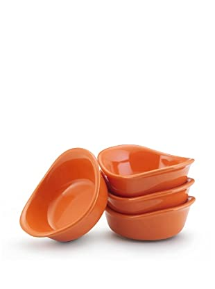 Rachael Ray Lil' Saucy Set of 4 Stoneware Dipping Cups (Orange)