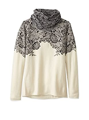 Kier & J Women's Lace Cowlneck Sweater (Crème/Black Lace)
