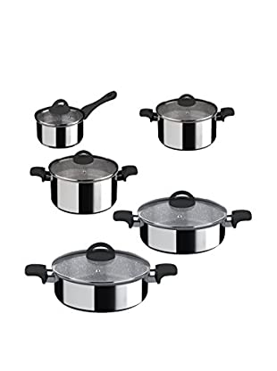 Mepra Fantasia Pietra 10-Piece Non-Stick Cookware Set, Black