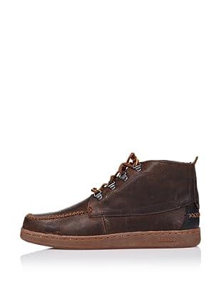 Sebago Zapato Botines Con Corchetes (Marrón)