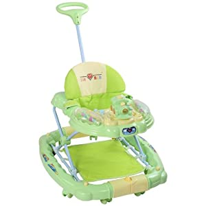 Fab N Funky - Musical Baby Walker Green With Push Handle