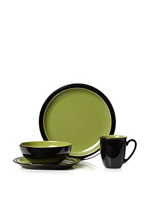 Denby Duets 4-Piece Place Setting (Black/Green)
