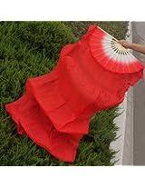 1.8m Lengthen Belly Dance Fan Silk Bamboo Fans Dance Dancing Performance Supplies (Red)