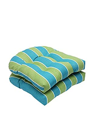 Pillow Perfect Set of 2 Indoor/Outdoor Wickenburg Teal Wicker Seat Cushions, Green