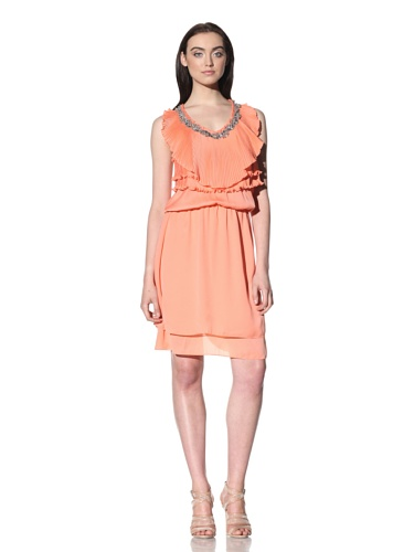 Robbi & Nikki Women's Beaded Pleat Ruffle Dress (Coral)