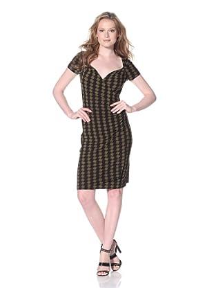 KAMALIKULTURE Women's Sweetheart Draped Dress (Black/Olive Check)