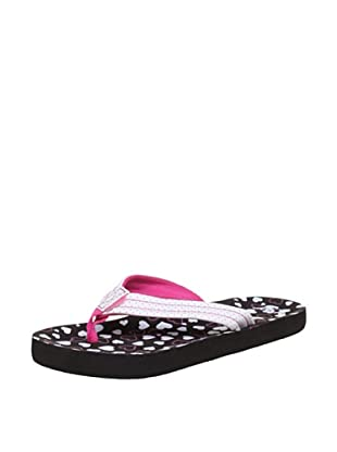 Reef Chanclas Little Casual (Negro/Blanco/Rosa)