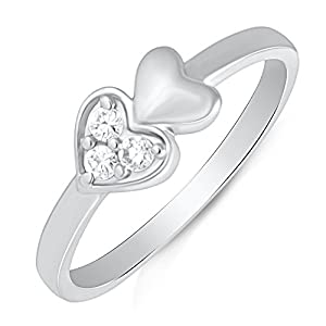 Mahi Rhodium Plated Forever Endearment Ring With CZ Stones