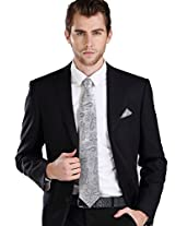 "Landisun Paisleys Mens Silk Tie Set: Tie+Hanky+Cufflinks 570 Silver Grey, 3.25""Wx59""L"