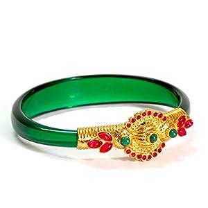 Daamak Jewellery Traditionl Yellow Gold Geen Studded Green Cuff Bangle