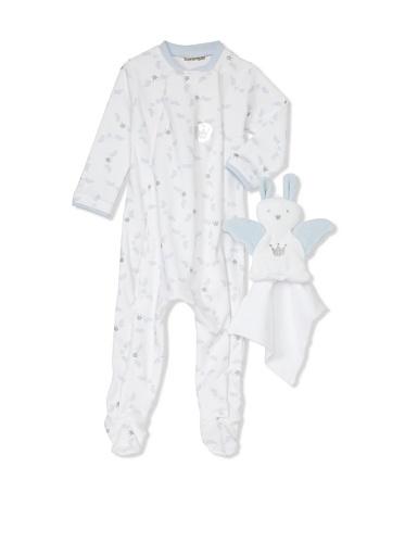 Berlingot Baby 2-Piece Footed Sleeper & Toy Bunny Set (Baby Blue)