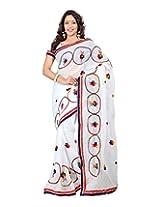Sanskar Fashion Red Chiffon Patch Work Saree