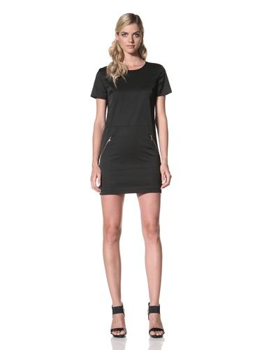 Maggie Ward Women's Stretch Sateen Crew Neck Dress (Black)