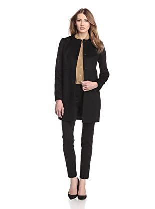 Les Copains Women's Collarless Coat (Black)
