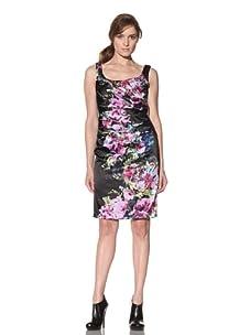 Suzi Chin Women's Floral Satin Scoopneck Dress (Black/Multi)