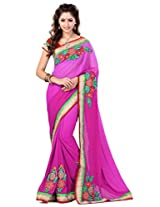 Sourbh Saree Patch Work Pink Faux Georgette Best Sarees for Women(with color option) Party Wear,Karwa Chauth Gifts, Women Clothing Collection