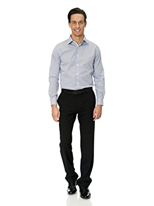 Vincenzo Boretti Baumwollhemd - Slim Fit, tailliert, kariert, bügelfrei (Weiß/Blau)