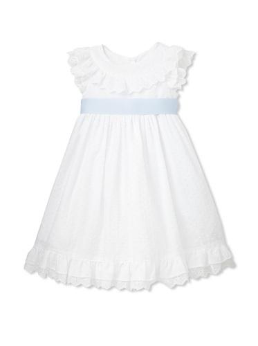 Laura Ashley Girl's Clip Dot Blue Ribbon Sash Dress (White)