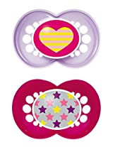 MAM Trends Latex Orthodontic Pacifier, Girl, 6+ Months, 2-Count