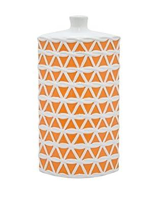Three Hands Circular Trellis Ceramic Vase, Orange/White