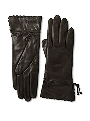 Portolano Women's Scallop Cuff Leather Gloves (Teak/Teak)