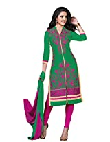 Khushali Presents Embroidered Glaze Cotton Dress Material(Green,Rani)