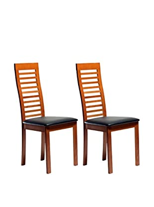 Aeon Set of 2 Euro Home Collection Denver Solid Beechwood Ladder Back Chair, Cherry