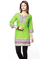 Purab Paschim Women's Cotton Printed Green Flash Kurti (20756) Large (OLT20756GFL)
