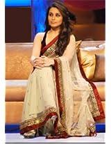 Ethnic Trend Net Dupion Satin Party Bollywood Replica Saree - 123 (Off-White)