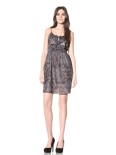 Andrew Marc Collection Women's Spaghetti Strap Dress with Ruffles (Multi)