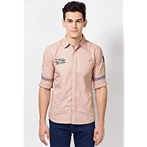 Peach Casual Shirt With Emboridery