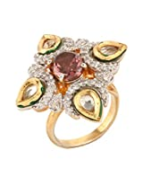 Dilan Jewels KNOWLEDGE Collection Purple Pink Colour Silver & Gold Plated Fusion Party Cocktail Ring For Women