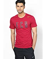 Red Fc Barcelona Crew Neck T Shirts