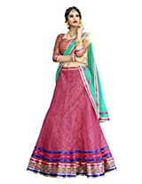 Melluha Pink Net Embroidered Booti and Border work Lehenga with Chiffon Dupatta